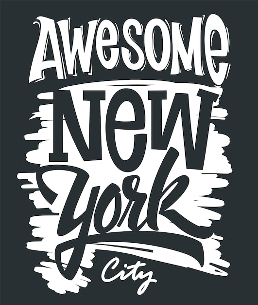 Awesome new york city typography, t-shirt print . Premium Vector
