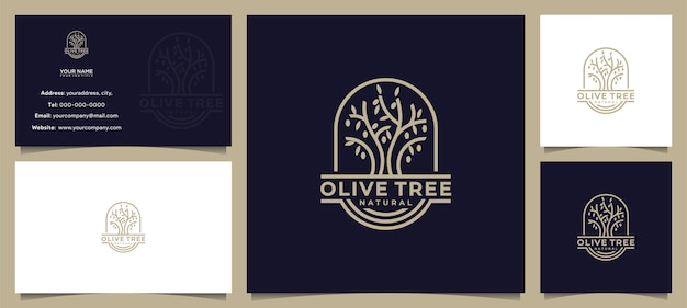 Awesome olive tree, olive oil logo design, with business card Premium Vector
