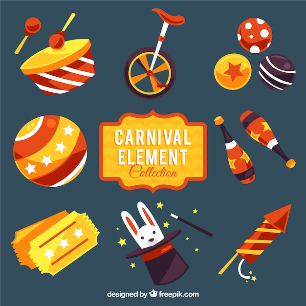 Awesome pack of colorful carnival elements Free Vector