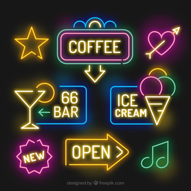 awesome pack of bright neon lights signages vector free download