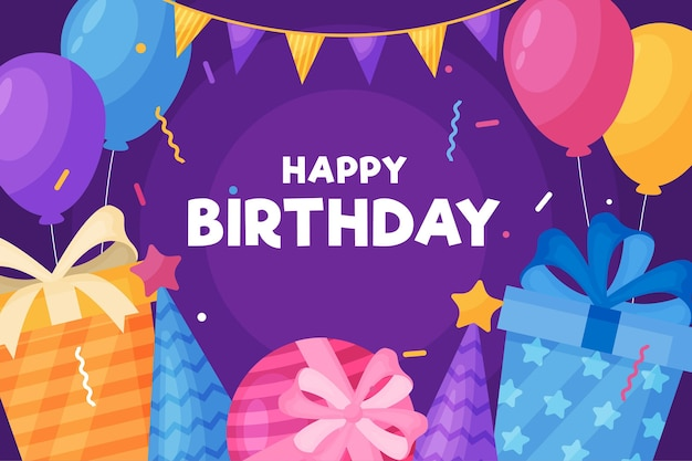 Awesome party gifts and balloons happy birthday Premium Vector