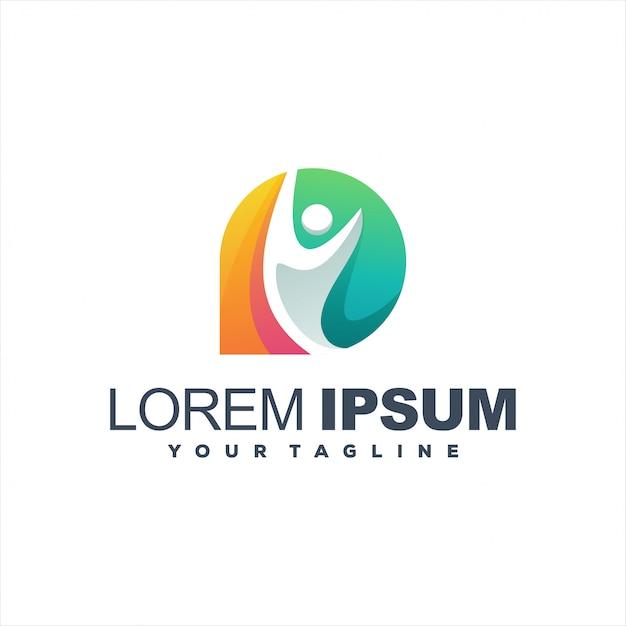 Удивительные люди градиентный дизайн логотипа Premium векторы