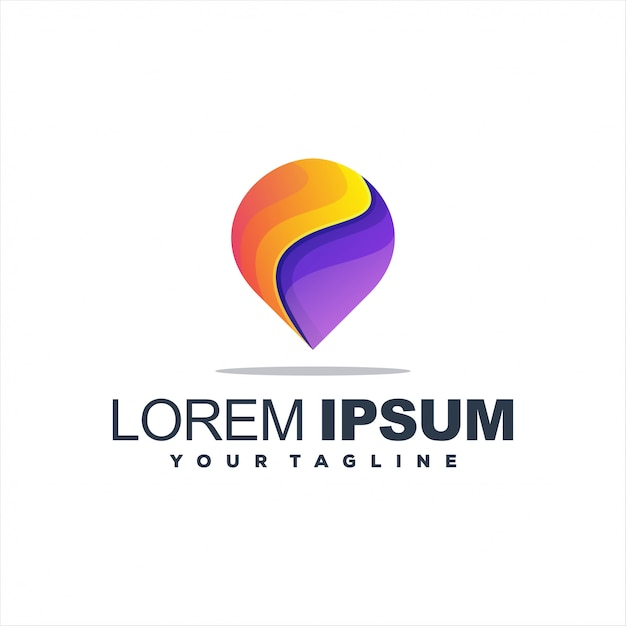 Awesome pin gradient logo Premium Vector