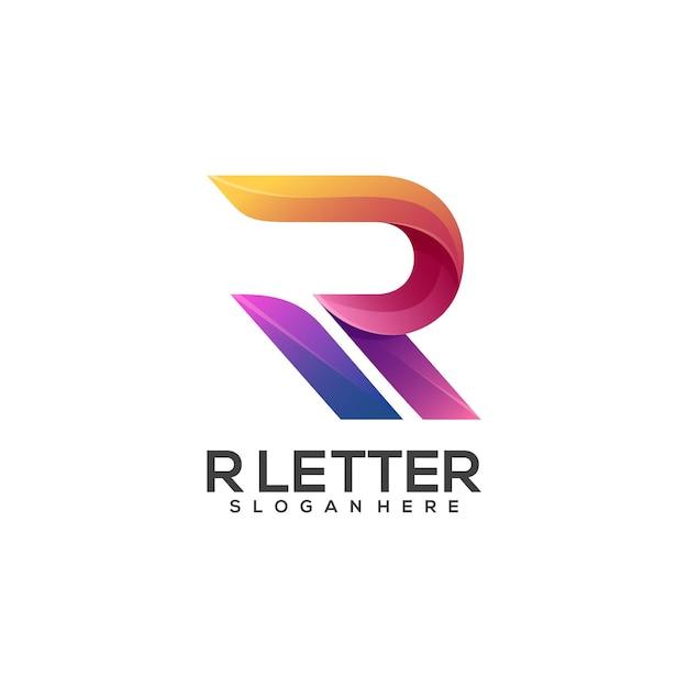 素晴らしいr文字のロゴのカラフルなグラデーション Premiumベクター