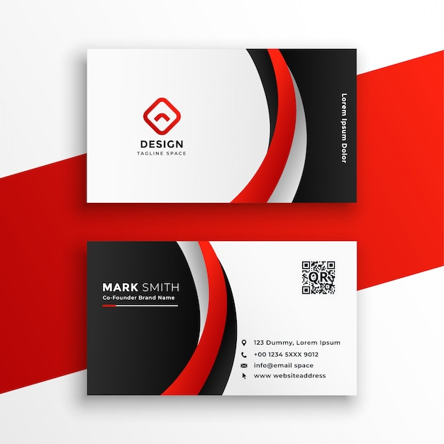Awesome red business card Free Vector