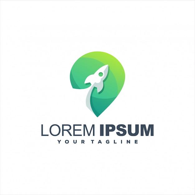 Удивительный дизайн логотипа градиента ракеты Premium векторы