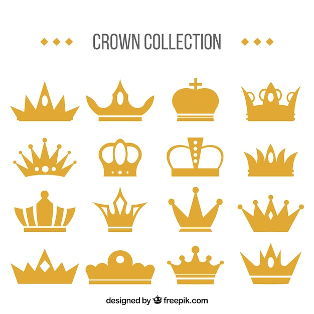 Awesome set of decorative crowns Free Vector