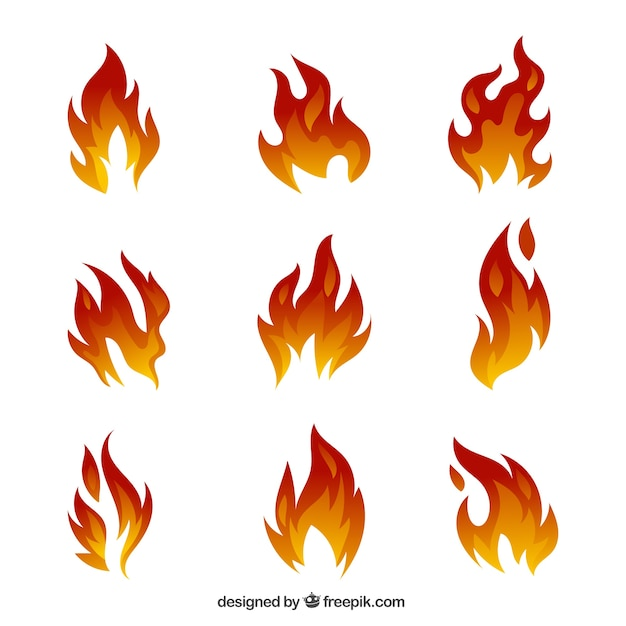 Awesome set of flames Premium Vector