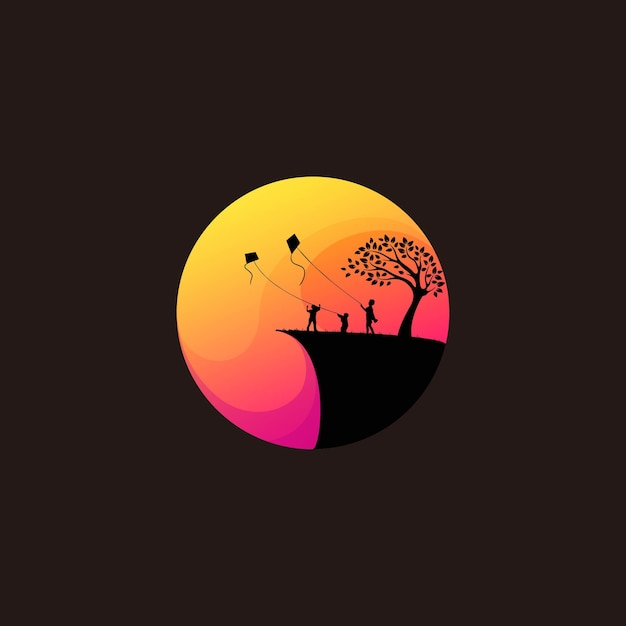 Awesome silhouette kids playing kites Premium Vector