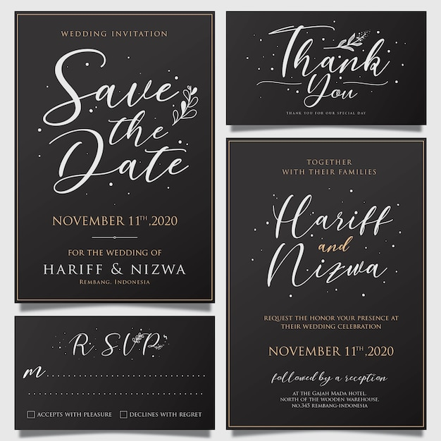 Awesome Simple Wedding Invitation Card Template With Flower
