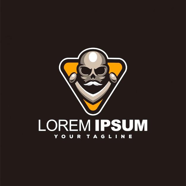 Удивительный дизайн логотипа головы черепа Premium векторы