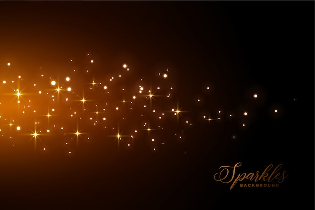 Awesome sparkles background with golden light effect Free Vector