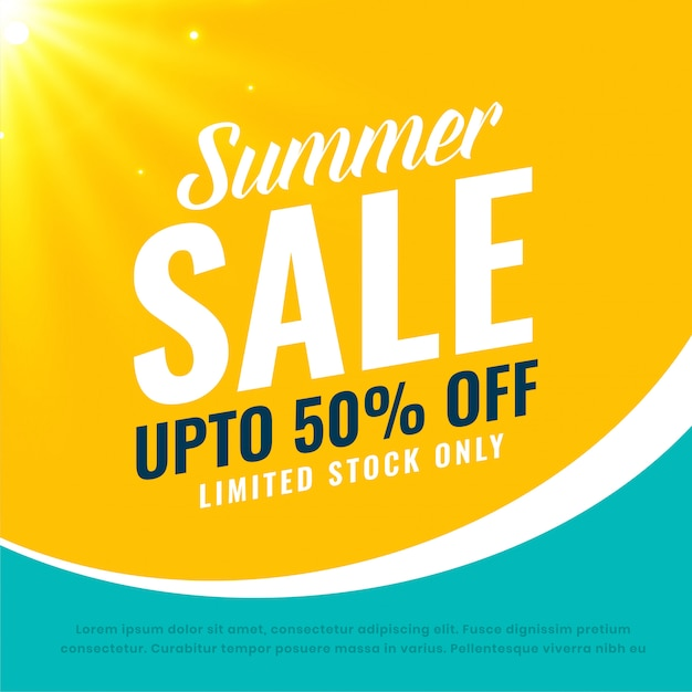Awesome summer sale bright banner Free Vector