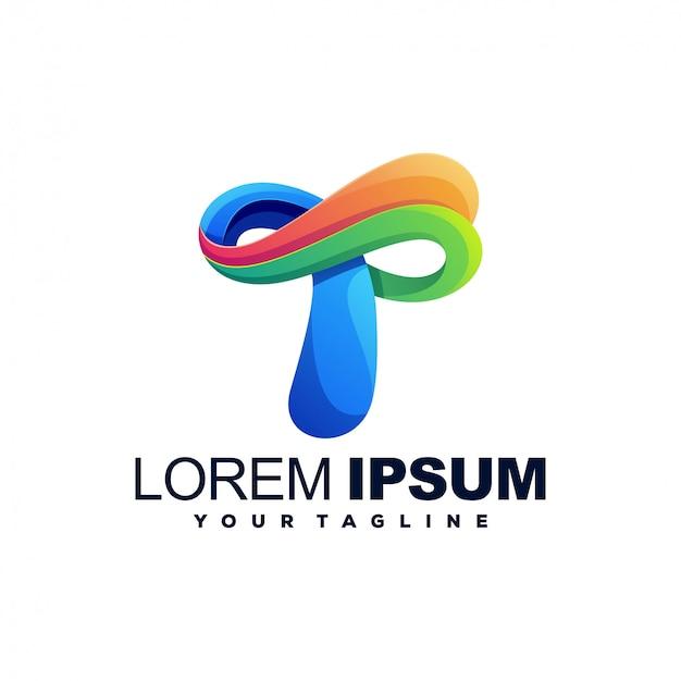 Awesome t color logo design Premium Vector