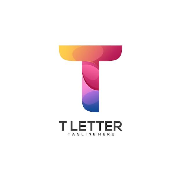 Удивительный логотип t письмо красочный абстрактный Premium векторы