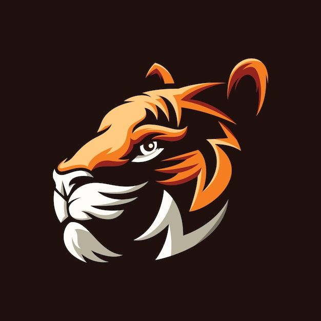 Awesome tiger head illustration design Premium Vector