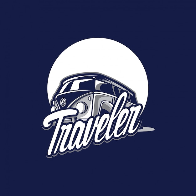 Awesome traveler logo Premium Vector