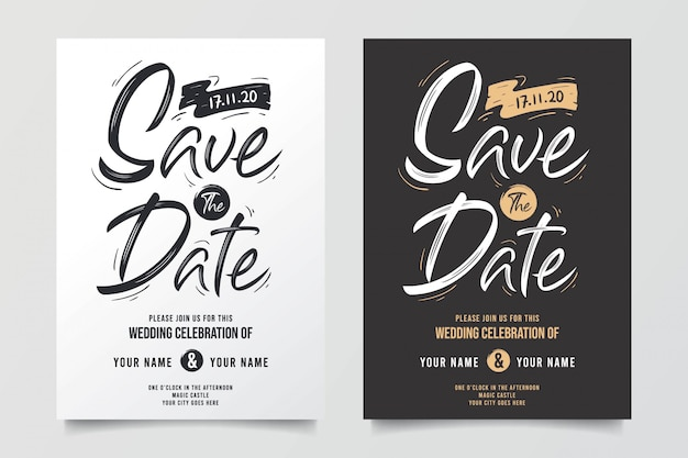 Awesome typographic wedding invitations Premium Vector