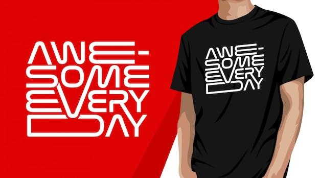 Потрясающий дизайн футболки с типографикой Premium векторы