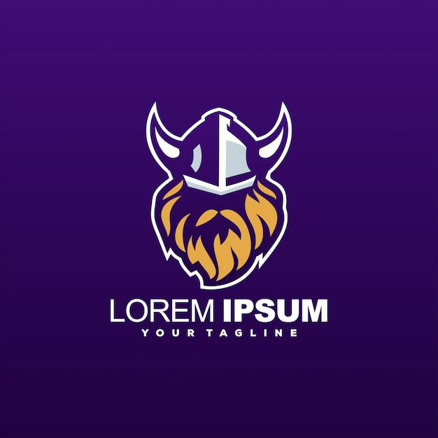 Awesome viking head logo template Premium Vector