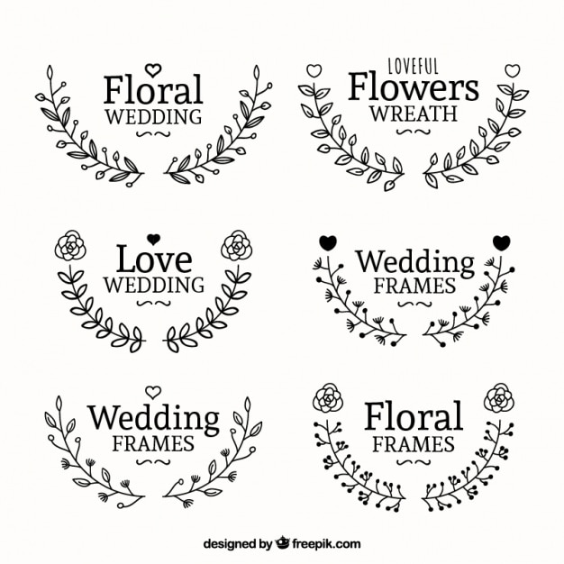 Awesome wedding frames with flowers Vector | Free Download