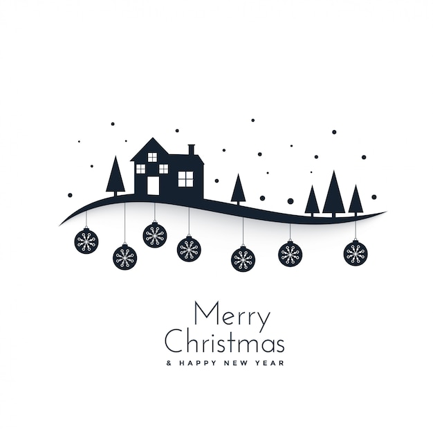 Awesome winter scene for merry christmas festival Free Vector