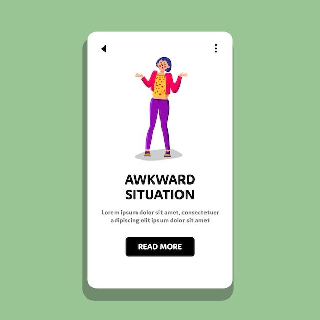 Awkward situation startled and unsure girl Premium Vector
