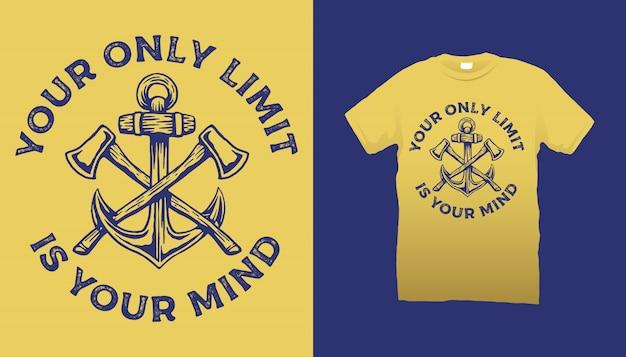 Топоры и якорь футболка дизайн Premium векторы
