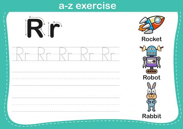 漫画の語彙イラストとアルファベットのaz運動 Premiumベクター