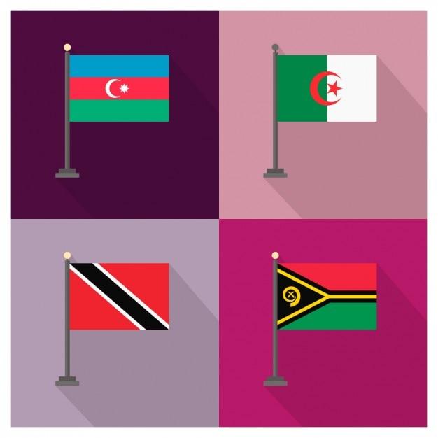Azerbaijan argelia trinidad and tobago and vanuatu flags Free Vector