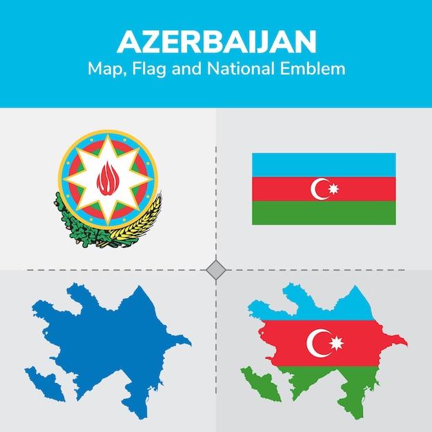 Premium Vector Azerbaijan Map Flag And National Emblem