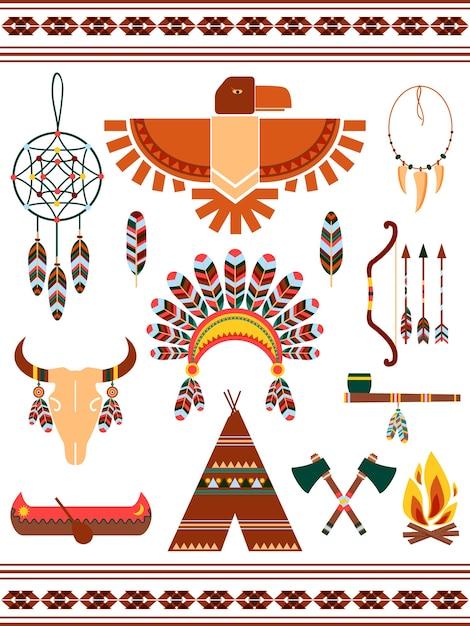 Индийские декоративные векторные элементы ацтеков и майя Бесплатные векторы