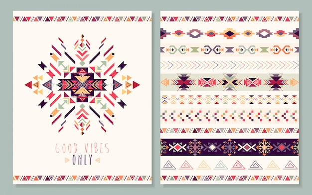 Aztec card with geometric elements, Premium Vector