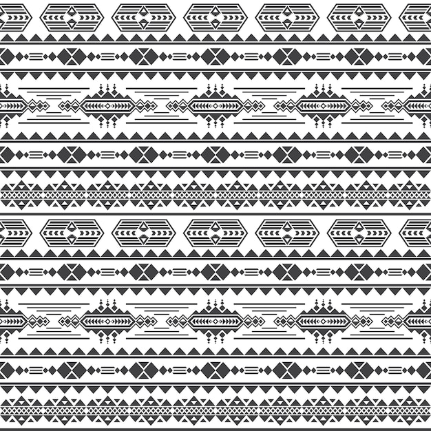 Aztec culture vector seamless pattern. mexican maya endless background Premium Vector