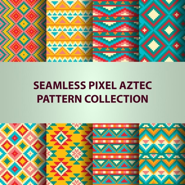 Aztec cute patterns with pixels Vector Free Download New Aztec Pattern