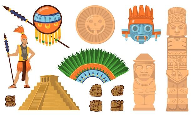 Set di simboli aztechi e maya. antica piramide, guerriero inca, maschere etniche, divinità e artefatti di idoli. illustrazioni vettoriali piatte per la cultura messicana, concetto di decorazioni tradizionali Vettore gratuito