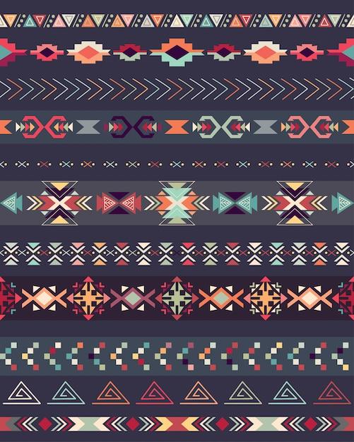 Aztec seamless pattern on a dark background Premium Vector