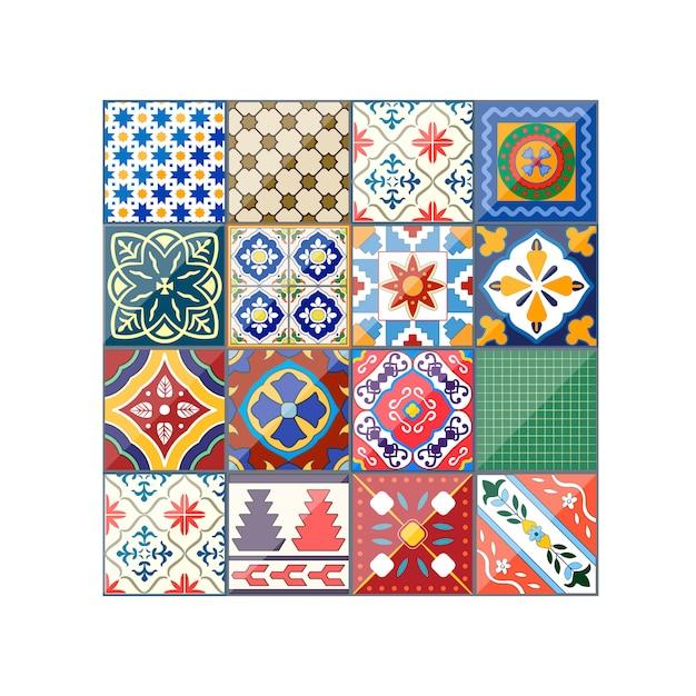Красивый красочный фон плитки azulejo Premium векторы