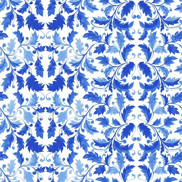 Традиционная португальская плитка azulejo бесшовные модели Бесплатные векторы