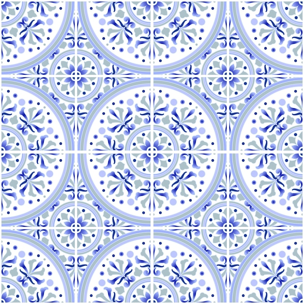 Талавера плитка узор, azulejos португалия орнамент, красочный керамический декор, марокканская мозаика, испанская фарфоровая посуда, народная печать, испанская керамика, средиземноморские бесшовные обои синий вектор Premium векторы
