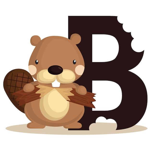 B for beaver Premium Vector