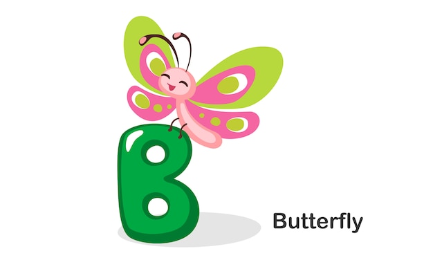 B for butterfly Premium Vector