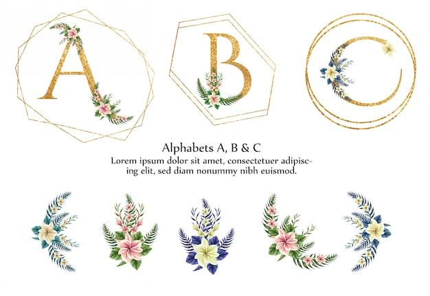 A, b, c alphabet Premium Vector