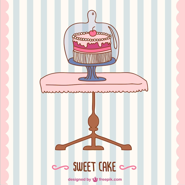 B-day cake card Free Vector