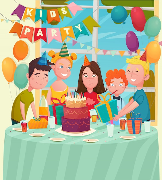 B-day party children composition Free Vector