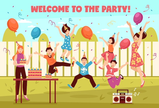 B-day party kids composition Free Vector