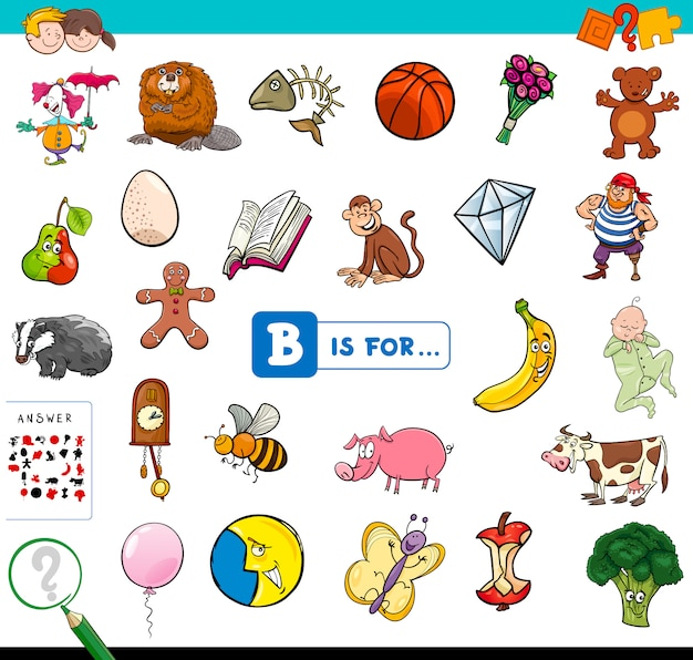 B is for educational game for children Premium Vector
