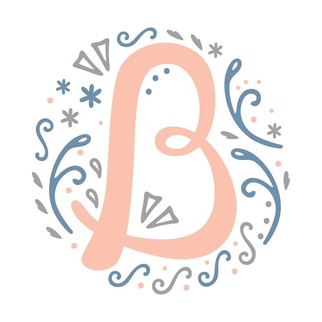 B Letter Monogram Design Decorative Font Drawing Feminine