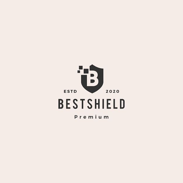 B letter shield digital pixel logo  icon hipster vintage retro Premium Vector