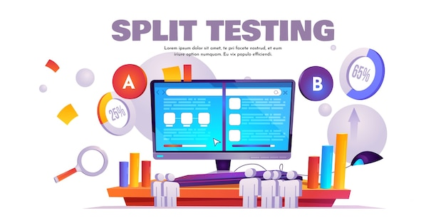 A b split testing cartoon banner, website comparison Free Vector